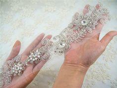 Wedding Rhinestones Applique, Vintage Rhinetones trim for dress, sash, garter, bridal applique, Crystal Applique, Bridal Sash Applique by LaceNTrim on Etsy