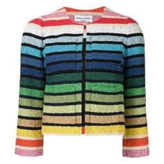Sonia Rykiel Multicolor Rainbow Cropped Spring Jacket (€540) ❤ liked on Polyvore featuring outerwear, jackets, rainbow jacket, cropped jacket, sonia rykiel, sonia rykiel jacket and blue cropped jacket