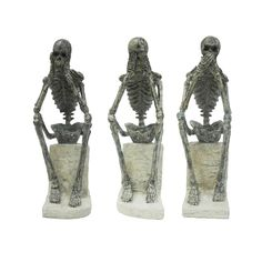 Off No Evil Statues Set of 3 by Moe's Home Collection . @ Our fascination with human skeletons seems to remind of us who we really are deep down. These three little guys remind us to hear no evil, see no evil, and speak no evil. Good advice we think! Grey Home Decor, Moe's Home Collection, Sculptures For Sale, Dot And Bo, Furniture Sale, Wood Sculpture, Home Decor Outlet, Home Collections, Decorative Objects