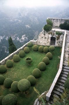 Topiary boxwood on the top of mountain on a ancient building garden.