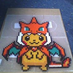 pikachu from pokemon made with hama/perler beads by me Melty Bead Patterns, Hama Beads Patterns, Beading Patterns, Pokemon Perler Beads, Pearler Beads, Geek Perler, Pixel Art Templates, Nerd Crafts, Minecraft Pixel Art