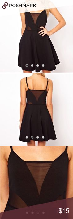Black Skater dress with mesh inserts Super fun and cute black dress. The mesh inserts make it stand out even more and add a sexy vibe to a fun and flirty dress! Very flattering...hits at the smallest part of the body. Fun and flowy! Straps are adjustable. It's a 6 but it think it fits a wide variety of sizes just because of the way it fits! Worn once to a bachelorette party 🖤 Asos Dresses