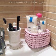 """Теперь и """"сапожник с сапогами"""" и в ванной порядок! #трикотажнаяпряжа #интерьерныекорзинки #вязание #вязаниекрючком #вязаниеспицами #вязаниеслюбовью #пряжа #тпряжа #ленточнаяпряжа #tshirtyarn #trapillo #tyarn #crochet #knitting #yarn #bathroom #larocheposay #garnier #pink #decor #homedecor #interiordesign #interior #ванная #ваннаякомната #cesta #basket #crochetbasket"""