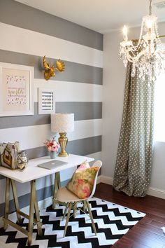 Striped wall, polka dot curtains, and a pretty chandelier. How Sweet It Is: Fresh Office Makeover