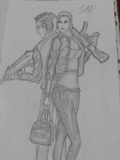 It's a drawing from a game named Saints Row The Third.