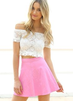 White Bodycon Crochet & Lace Off the Shoulder Crop Top