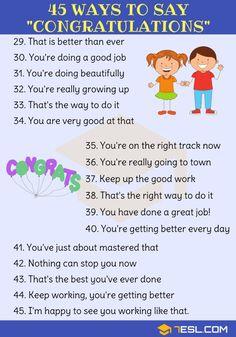 Congratulations Synonym: 45 Ways To Say Congratulations - 7 E S L English Learning Spoken, Learn English Grammar, English Writing Skills, English Idioms, English Language Learning, English Phrases, Learn English Words, Education English, English Lessons