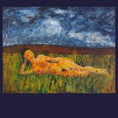 Žena ležící na mezi akryl na plátně rozměr: 130x100 cm