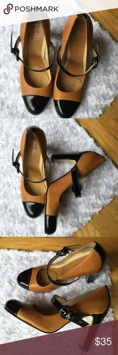 """ENZO ANGIOLONI CHESTNUT PATENT MARY JANES Leather upper. Patent heel, strap and buckle and toe. Wear these with a current outfit or something vintage. 3.5"""" heel. -No trades. Enzo Angiolini Shoes"""