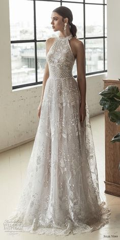 julie vino 2019 romanzo bridal sleeveless halter jewel neck full embellishment romantic a line wedding dress open back sweep train (4) mv -- Romanzo by Julie Vino 2019 Wedding Dresses #weddingdresses #romanticweddings