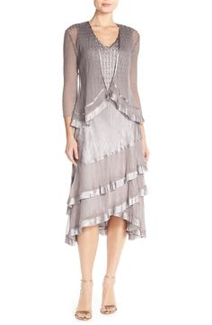 Free shipping and returns on Komarov Charmeuse A-Line Dress & Jacket (Petite) at Nordstrom.com. Expertly hand-pleated and heat-set charmeuse and chiffon.  Mother of the bride.