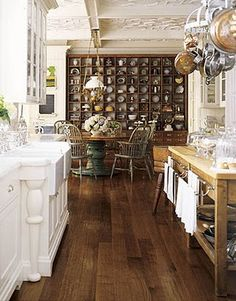 kitchen organization, white and wood, wood flooring