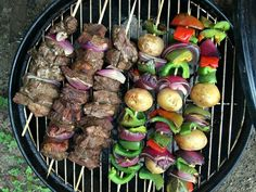 These beef kabobs on the grill marinade recipe is our favorite camping recipe. These beef kabobs on the grill marinade recipe is our favorite camping recipe. Camping Desserts, Vegetarian Camping Recipes, Best Camping Meals, Grilling Recipes, Camping Ideas, Outdoor Camping, Beef Kabob Marinade, Beef Kabobs, Muesli