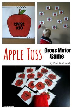 Apple Toss gross motor game to get the kids moving and working on gross motor skills through play.