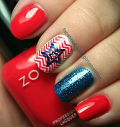Nail Art for the Fourth of July featuring Zoya Maura and Zoya Ibiza