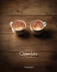 I am not sure if those coffee cups were photoshopped or crafted, but the concept for the ad was clever!   For Oliver Brown Cafe by JWT in Sydney, Australia found on http://adsoftheworld.com/media/print/oliver_brown_cafe_open_late