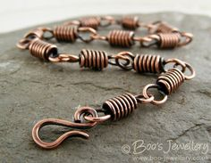 Antiqued copper coiled link bracelet with hook clasp by BooJewels, £39.00