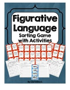 Fun Figurative Language activity covers Idioms, Similes, Metaphors and Adages/Proverbs.It can be used in a literacy center, in small groups or for early finishers.  It includes: 36 cards for sorting 4 headings for sort 4 handouts (Similes, Metaphors, Idioms and Adages and Proverbs) which give a definition, an example and space for students to record 3 of their answers and the meanings $