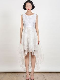 Choies White Floral Print Gauze Panel Multi Layer Sleeveless Hi-lo Dress SIZE S #Choies #Fashion