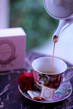 tea and chocolate. Coffee Time, Tea Time, Macarons, Laduree Paris, Chocolate Cafe, Pause Café, Tea And Books, Cuppa Tea, My Cup Of Tea