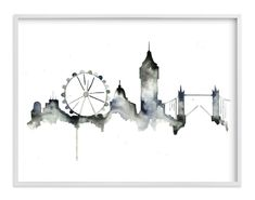 """London Skyline"" - Painting Limited Edition Art Print by Kelsey McNatt. Custom Art Print, Landmarks Art, Black And White Wall Art, Skyline Painting, Limited Edition Art Print, Art, City Skyline, Black And White, Abstract"