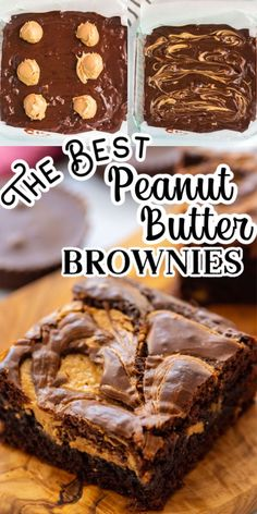 The Best Peanut Butter Brownies! Delicious homemade brownies (or use a mix), loaded with Reese's Peanut Butter Cups and swirled with creamy peanut butter! Fudge Brownies, Chocolate Peanut Butter Brownies, Peanut Butter Desserts, Homemade Brownies, Peanutbutter Brownies Recipe, Chocolate Pizza, Chocolate Tarts, Tolle Desserts, Köstliche Desserts