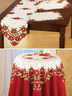Embroidered Poinsettia and Holly Table Linens