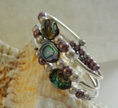 Peacock Colors Cuff wrap Bracelet Glass Pearls and by uniquenique, $23.00 #onfireteam #lacwe #teamfest #tbec #accessories #jewelry #bracelet