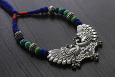 Tribal Silver Tone Peacock Necklace - AristaBeads Jewelry - 1