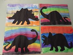 2nd Grade Dinosaur Silhouettes (Watercolor Background, Black Paper Dinosaurs)
