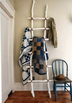 DIY display ladder using collected branches