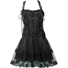 Black gothic dress by Aderlass, with straps, mesh and lace detail, ornate with metallic flowers.