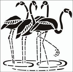 Flamingos stencil from The Stencil Library GENERAL range. Buy stencils online. Stencil code 93.