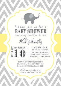 Custom Yellow Gray Chevron Baby Shower Invitation with carriage