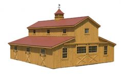 36' x 36' Monitor Barn w/ Center Aisle Loft (not available on rent-to-own) Shown with Optional Red Metal Roof, Windows in all Doors, Double ...