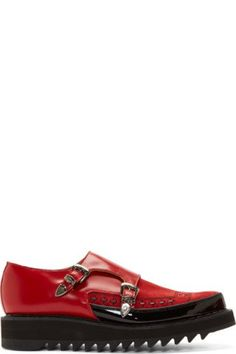 Alexander Mcqueen: Brown Studded Monk Strap Shoes