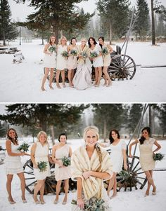 Winter bridesmaid dresses idea, having them all be a little different but within the same color scheme