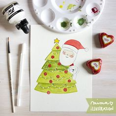 At first I was working on my sketches and you have been seen some of them. It's time to finish with watercolors. So first #Christmas #card  is finished. Still four to go. I'm planning to be done by the end of the week.  Can't wait to show you all!