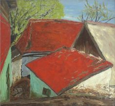 Houses in Poiana Mărului - Horia Bernea Art Database, Spirituality, Museum, Contemporary, Landscape, Abstract, Paintings, France, Figurative