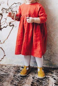 Beautiful Handmade Burnt Orange Baby Toddler Dress | TinyStoriesClothes on Etsy