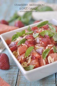 Strawberry Watermelon Orzo Salad  is so pretty and delicious.  The perfect side dish for your next BBQ or potluck!
