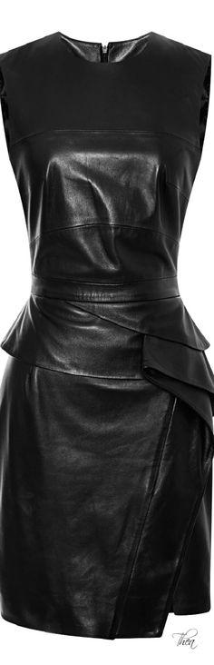 Elie Saab ● Resort 2015, Black Sleeveless Leather Dress