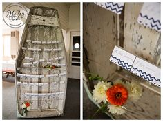 An old dinghy makes a great escort card holder for a Maine seaside wedding! Photo by @Hailey Crabtree. www.realmaineweddings.com