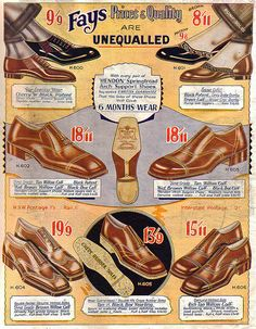 Dapper mens styles from Fay's Shoe Catalogue 1932. #vintage #1930s #fashion #shoes #menswear