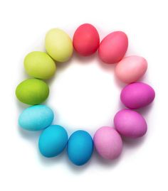 rainbow eggs with chart for colors and times