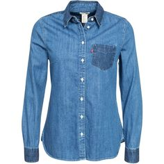 Levis Relax Pocket Shirt (520 MXN) ❤ liked on Polyvore featuring tops, shirts, blusas, long sleeve tops, blouses & shirts, denim, womens-fashion, collared shirt, pocket long sleeve shirt and shirts & tops