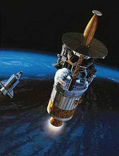 December 7, 1995: Galileo Returns from the Grave   The Galileo spacecraft and its Inertial Upper Stage booster (cylindrical section) leaving Earth orbit and the space shuttle Atlantis for Jupiter in October 1989, in an artist's rendering. Hughes Aircraft built Galileo's probe, which parachuted into Jupiter's atmosphere when the spacecraft arrived at the giant planet in December 1995.