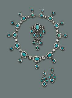 Diamond parure, enhanced by turquoise given to Princess Maria José in 1930 as a wedding gift (sold at Christie's for £120,000 in 2007 against a £30,000-40,000 estimate)