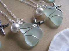 Wedding Jewelry One Sea Glass Jewelry Bridesmaid by BostonSeaglass