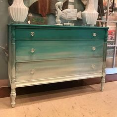 Ombre dresser with Chalk Paint® mixes of Florence, Old White, and Paris Grey | Project by Annie Sloan Stockist Marcotte's Design in Largo, FL